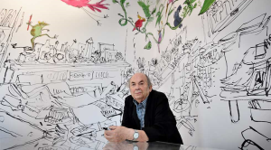 Illustrator Quentin Blake photographed at his Inside Stories exhibition